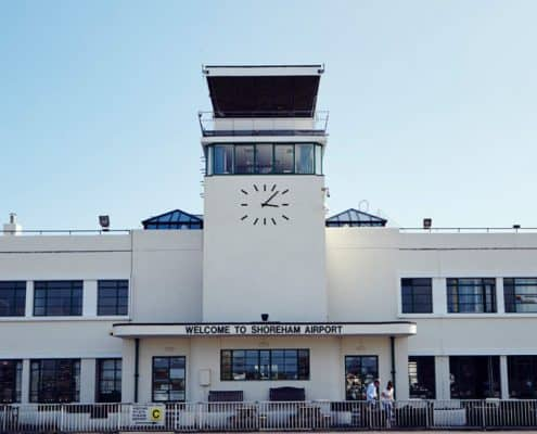 image of art deco building at Shoreham Airport in East Sussex